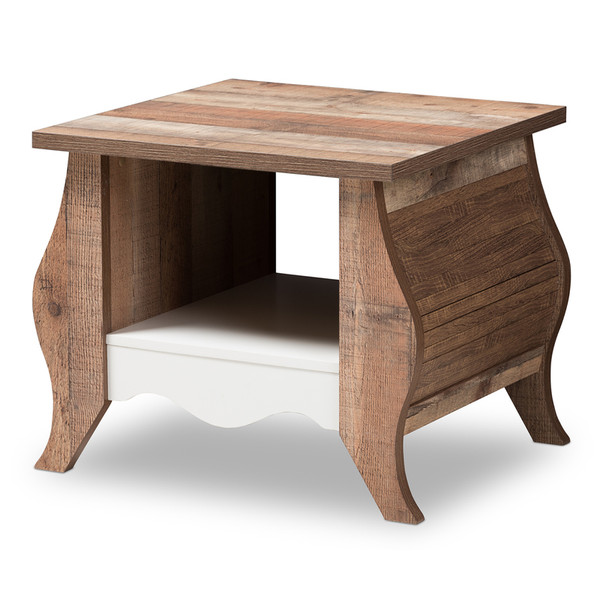 Baxton Studio Raynell Country Cottage Farmhouse End Table CT902001-White/Oak-CT