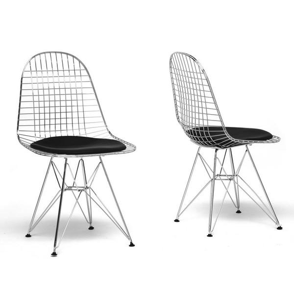 Baxton Studio Avery Wire Chair with Black Cushion - (Set of 2) DC-106-black cushion-DC