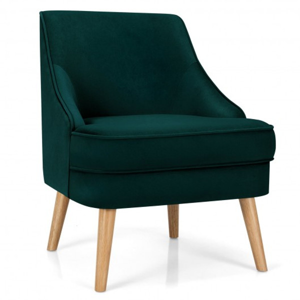 Velvet Upholstered Accent Chair With Rubber Wood Legs-Green HW67579GN