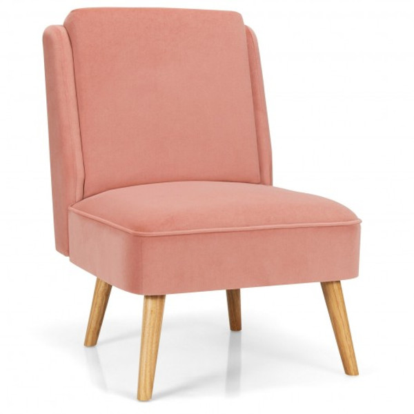 Velvet Accent Chair With Rubber Wood Legs For Living Room-Pink HW67580PK