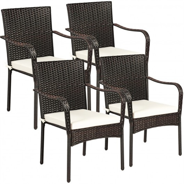 Set Of 4 Patio Rattan Stackable Dining Chair With Cushioned Armrest For Garden OP70823
