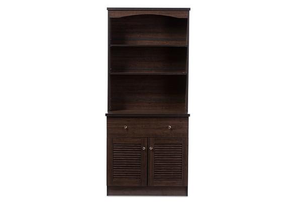 Baxton Studio Agni Dark Brown Buffet And Hutch Kitchen Cabinet DR 883701-Wenge