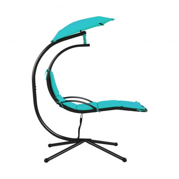 Patio Hanging Hammock Chaise Lounge Chair With Canopy Cushion For Outdoors-Turquoise NP10114TU