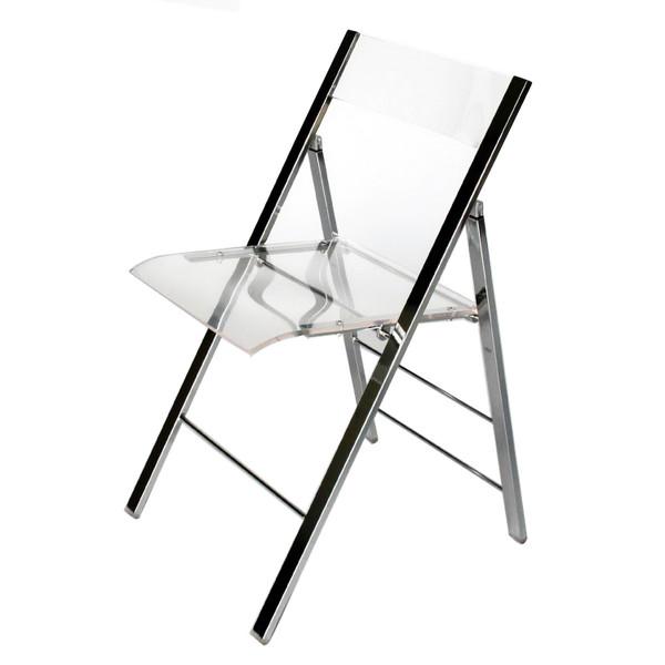Baxton Studio Acrylic Foldable Chair - (Set of 2) FAY-506-Clear