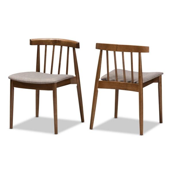 Baxton Studio Wyatt Walnut Wood Dining Chair - (Set of 2) Florence Dining Chair