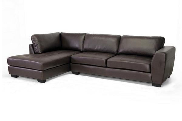 Baxton Studio Orland Brown Leather Sectional with Left Facing Chaise IDS023-Brown LFC