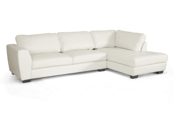 Baxton Studio Orland White Leather Sectional with Right Facing Chaise IDS023-White RFC