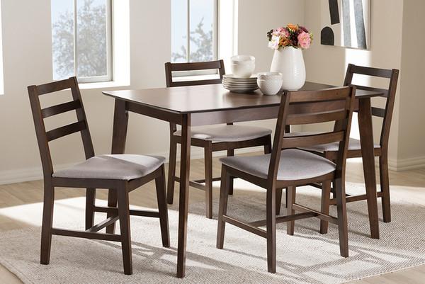 Baxton Studio Light Grey Fabric Upholstered 5-Piece Dining Set