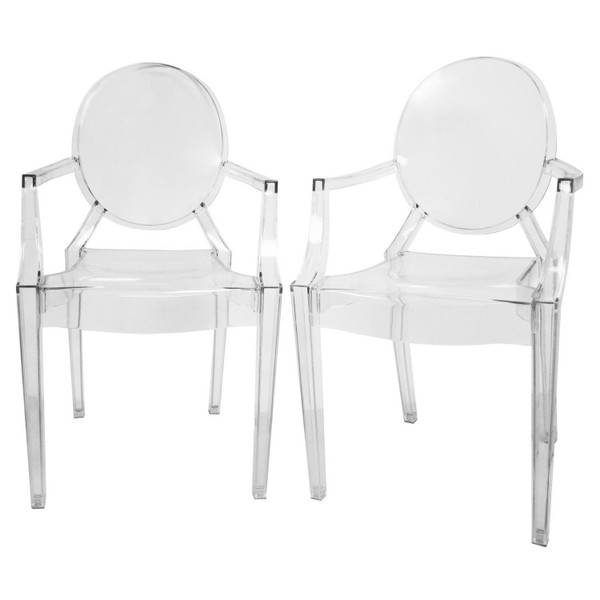 Baxton Studio Dymas Acrylic Armed Ghost Chair - (Set of 2) PC-449-clear