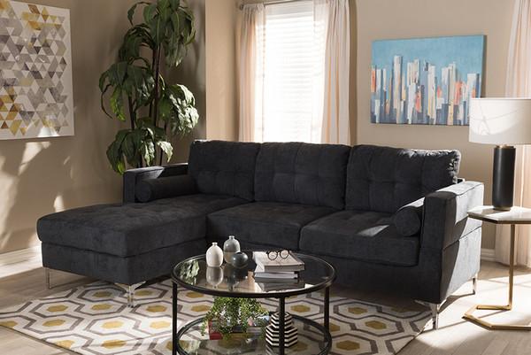 Baxton Studio Dark Grey Fabric Upholstered Sectional Sofa R7860-Dark Gray-LFC