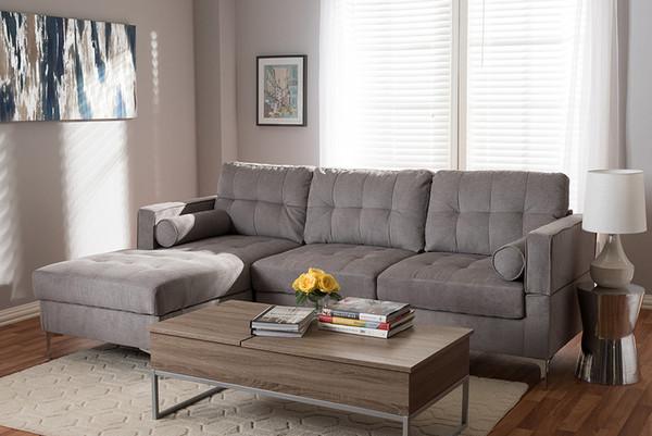Baxton Studio Light Grey Fabric Upholstered Sectional Sofa R7860-Light Gray-LFC