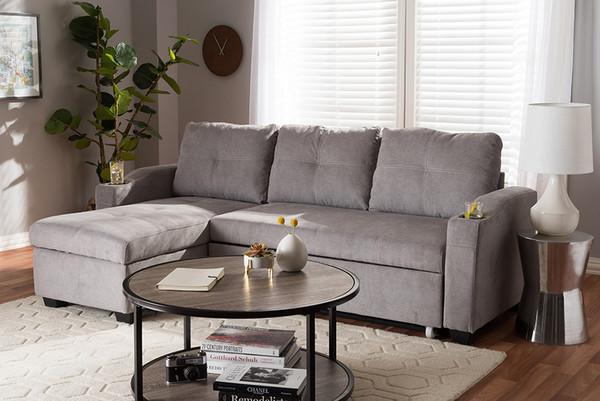 Baxton Studio Light Grey Fabric Upholstered Sectional Sofa R8068-Light Grey-Rev-SF