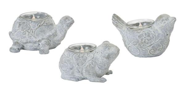 "Animal Tea Light Holder (Set Of 6) 3""H, 3.5""H, 4""H Resin/Stone Powder 78397DS By Melrose"