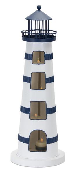 "Lighthouse Tea Light Holder (Set Of 2) 7.25"" X 20.5""H Iron 78301DS By Melrose"