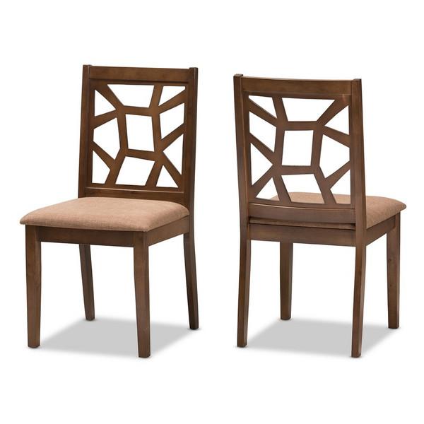 Baxton Studio Abilene Dining Chair - (Set of 2) RH3010C-Walnut/Light Brown-DC