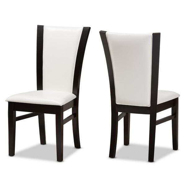 Baxton Studio Adley Faux Leather Dining Chair - (Set of 2) RH5510C-Dark Brown/White-DC