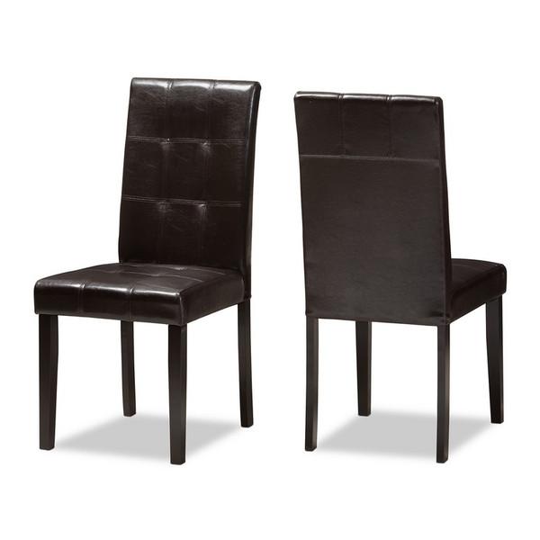 Baxton Studio Avery Upholstered Dining Chair - (Set of 2) RH5991C-Dark Brown-DC