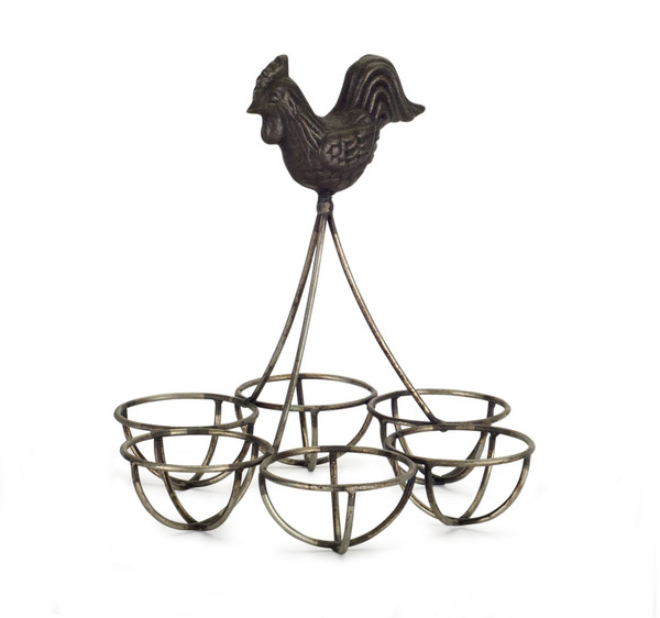 """Rooster/Egg Holder (Set Of 4) 6.25""""H Iron 74346Ds By Melrose"""