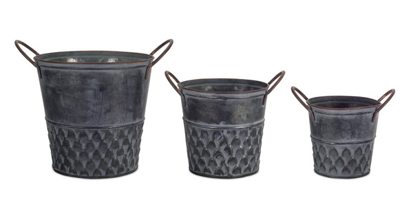 """Pot With Handle (Set Of 6) 5""""H, 6.75""""H, 8.75""""H Metal 74074Ds By Melrose"""
