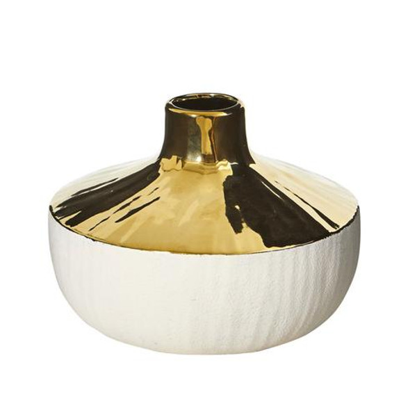 """8"""" Elegance Ceramic Decorative Vase With Gold Accents 0766-S1 By Nearly Natural"""