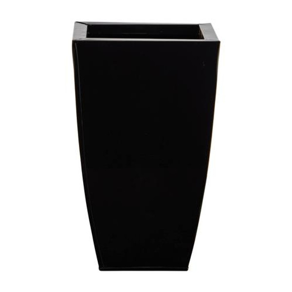 """13"""" Tapered Square Metal Planter 0818-S1-BK By Nearly Natural"""