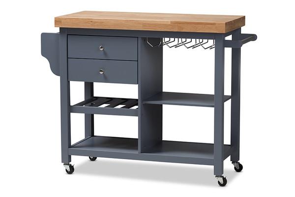 Baxton Studio Sunderland Coastal And Farmhouse Grey Wood Kitchen Cart RT515-OCC