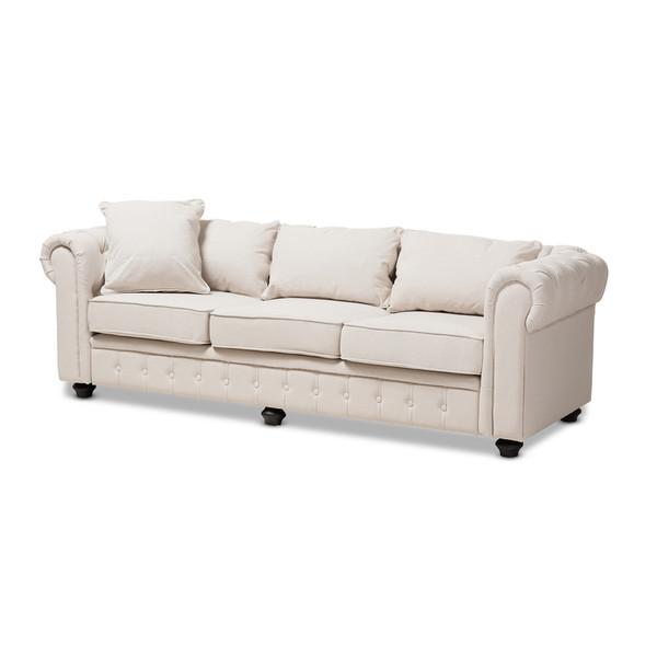 Baxton Studio Alaise Modern Classic Chesterfield Sofa RX1616-Beige-SF