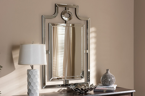 Baxton Studio Silver Finished Pagoda Wall Accent Mirror RXW-5949