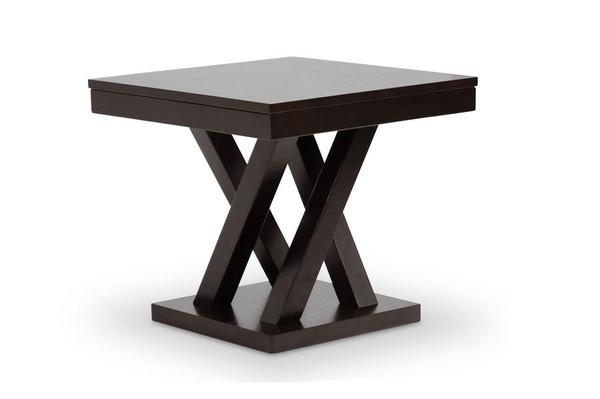 Baxton Studio Everdon Dark Brown End Table SA109-Side Table