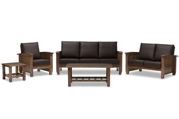 Baxton Studio Charlotte Faux Leather 5-Piece Livingroom Set SW3513-Dark Brown/Walnut Set
