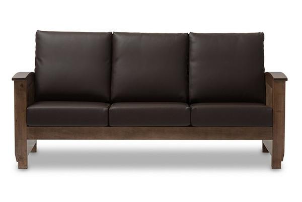 Baxton Studio Charlotte Walnut and Faux Leather Sofa SW3513-Dark Brown/Walnut-M17-SF