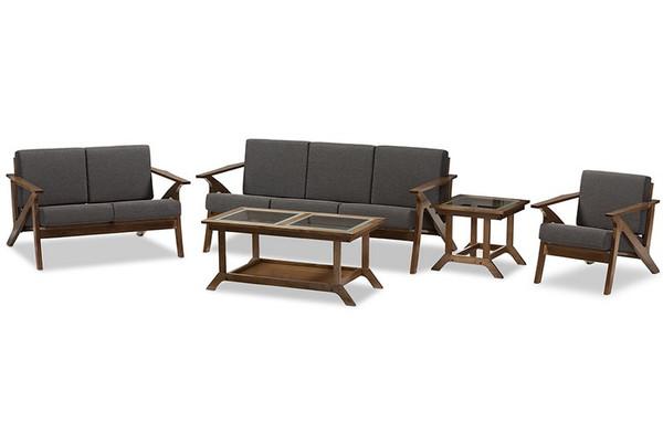 Baxton Studio Cayla And Walnut 5-Piece Livingroom Set SW5236-Grey/Walnut Set