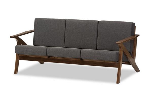 Baxton Studio Cayla And Walnut Brown Wood Livingroom Sofa SW5236-Grey/Walnut-M17-SF