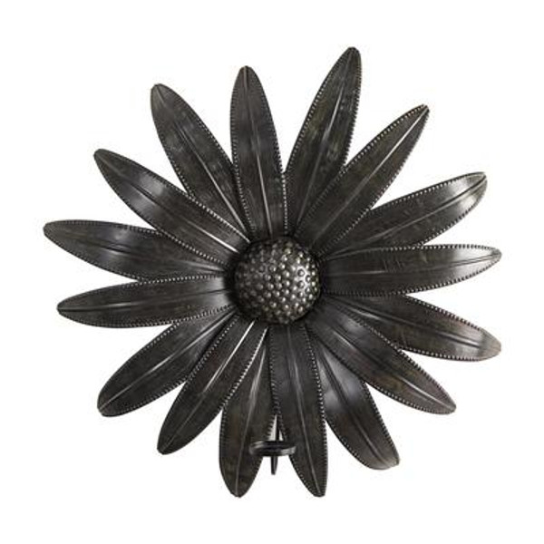 """30"""" X 30"""" Brushed Metal Daisy Flower Sconce Candle Holder Wall Art Decor 7064 By Nearly Natural"""