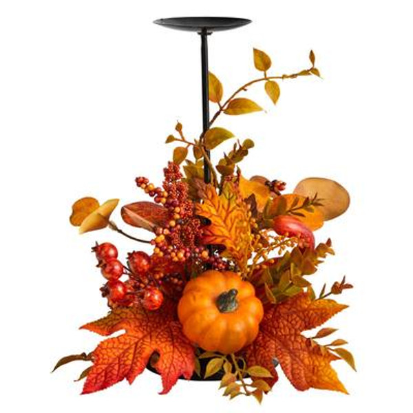 """12"""" Fall Maple Leaves, Berries And Pumpkin Autumn Harvest Candle Holder A1783 By Nearly Natural"""