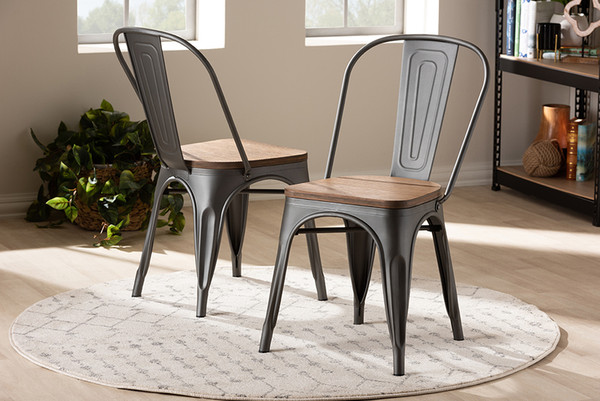 Baxton Studio Bamboo And Gun Metal-Finished Steel Dining Chair (Set Of 2)