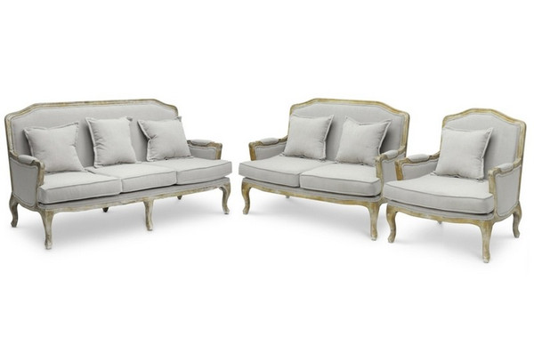 Baxton Studio Constanza Antiqued French 3-Piece Sofa Set TA2256-Beige 3PC set