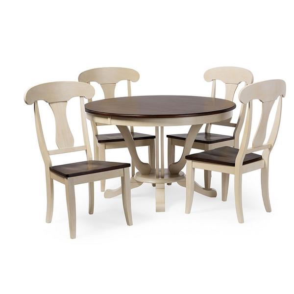 Baxton Studio Napoleon Chic Oak White 5 Piece Dining Set Tfsr 08236 Alr 08114 5pc Set