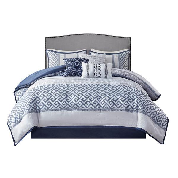 Bennett 7 Piece Jacquard Comforter Set - Queen By Madison Park MP10-7392
