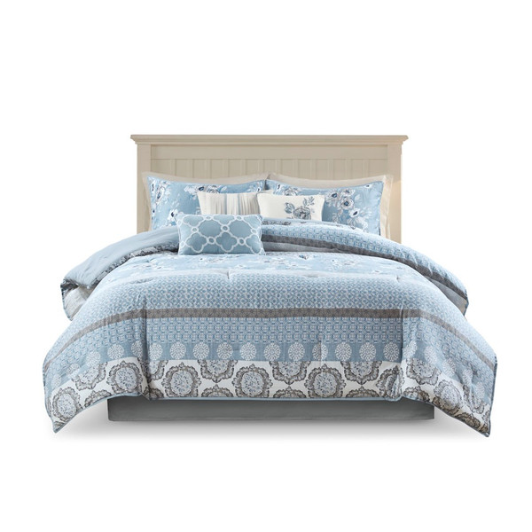 Willa 7 Piece Cotton Printed Comforter Set - King By Madison Park MP10-7343