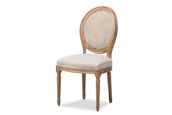 Baxton Studio Adelia Oak and Dining Side Chair with Round Cane Back TSF-9315B-Beige-DC
