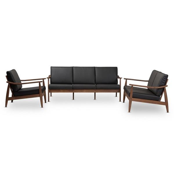 Baxton Studio Venza Faux Leather 3-Piece Sofa Set Venza-Black/Walnut Brown-3PC-Set