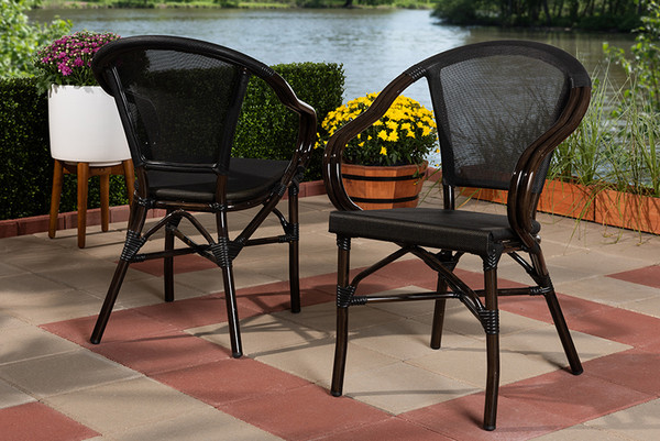 Baxton Studio Indoor And Outdoor Black Bamboo Dining Chair (Set Of 2)