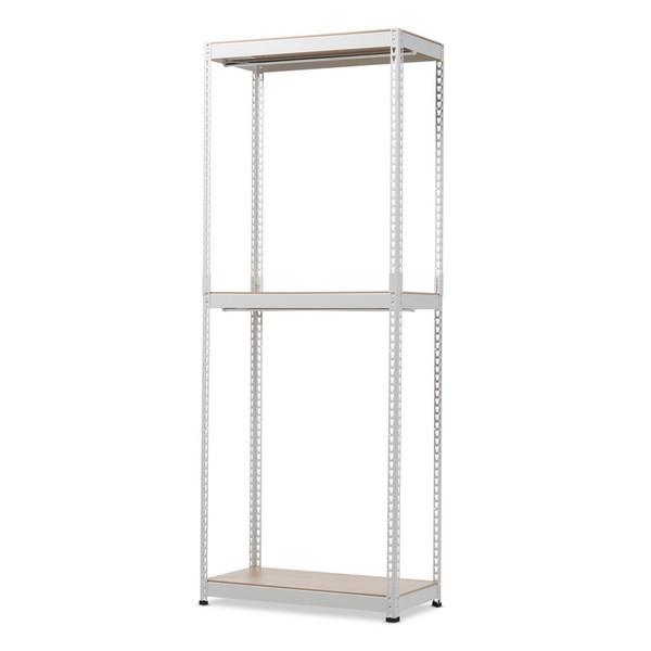 Baxton Studio Gavin White Metal 3 - Shelf Closet Racking Organizer WH06-White-Shelf