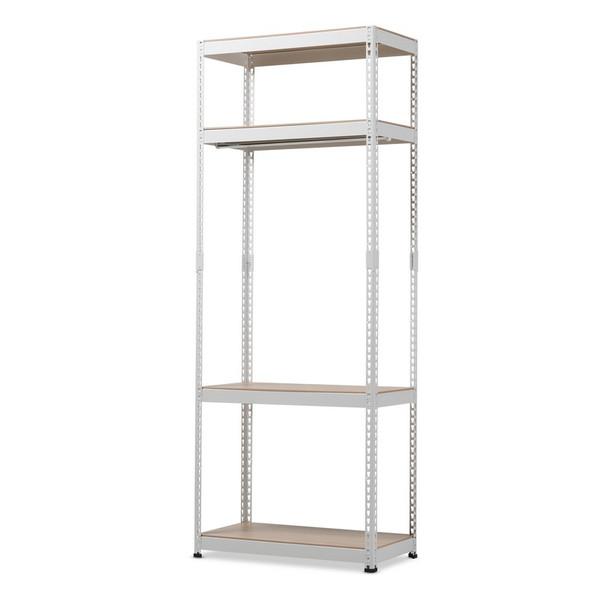 Baxton Studio Gavin White Metal 4 - Shelf Closet Racking Organizer WH09-White-Shelf