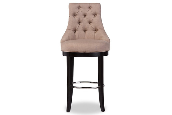 Baxton Studio Harmony Button-Tufted Fabric Bar Stool with Metal Footrest WS-2076-Beige