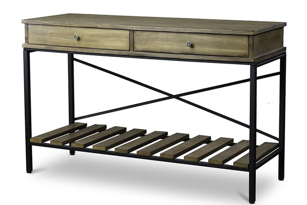 Baxton Studio Newcastle Wood and Metal Console Table - Criss - Cross YLX-0003-AT