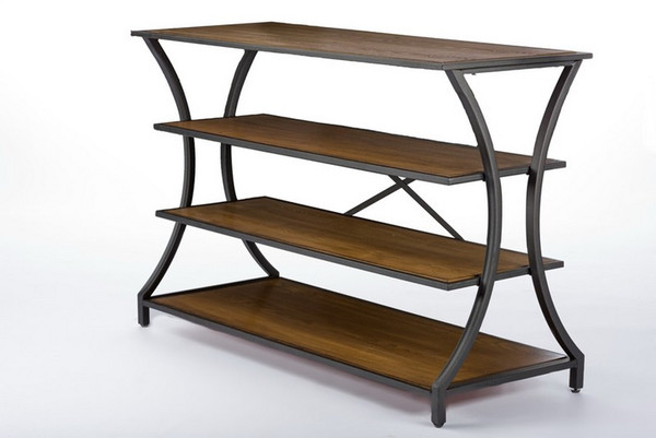Baxton Studio Lancashire Brown Wood & Metal Console Table YLX-0004-AT