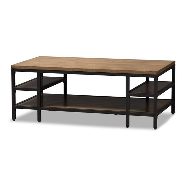 Baxton Studio Caribou Oak Brown Wood and Black Metal Coffee Table YLX-0005-CT