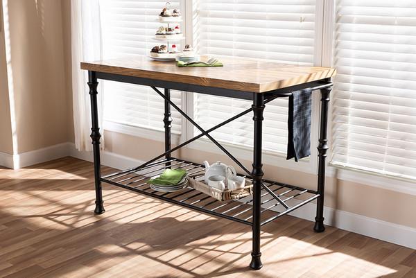 Baxton Studio Wood And Bronze-Finished Steel Kitchen Island Table YLX-5014